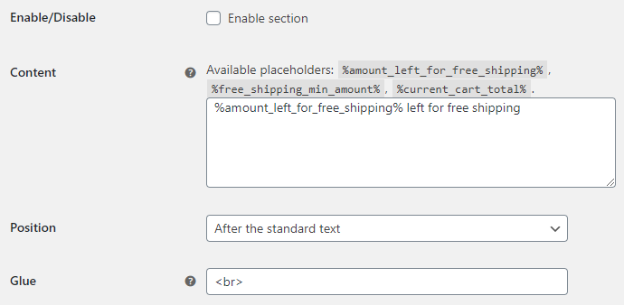 Amount Left for Free Shipping for WooCommerce - Add to cart Notice Options