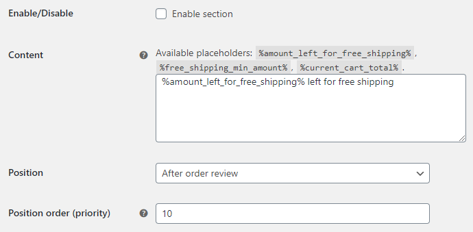 Amount Left for Free Shipping for WooCommerce - Checkout Options