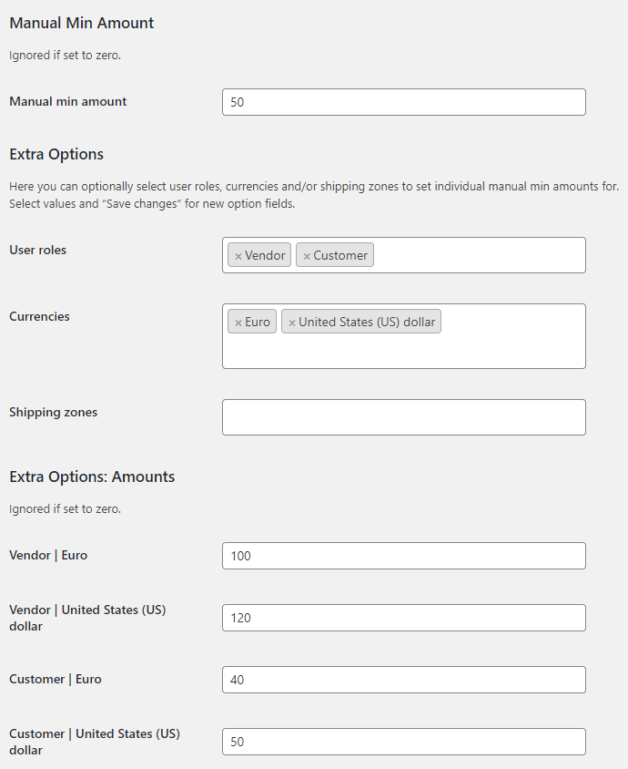 Amount Left for Free Shipping for WooCommerce - Manual Min Amount Options