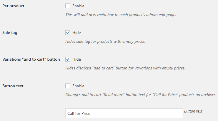 Call for Price for WooCommerce-General Options - v3.2.1