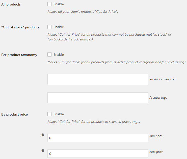 Call for Price for WooCommerce - Admin Settings - Force Products Options