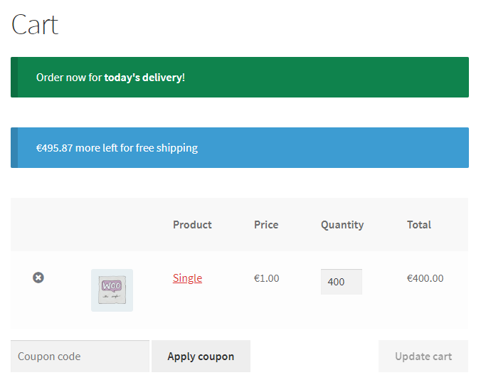 Cart Messages for WooCommerce - Frontend - Cart