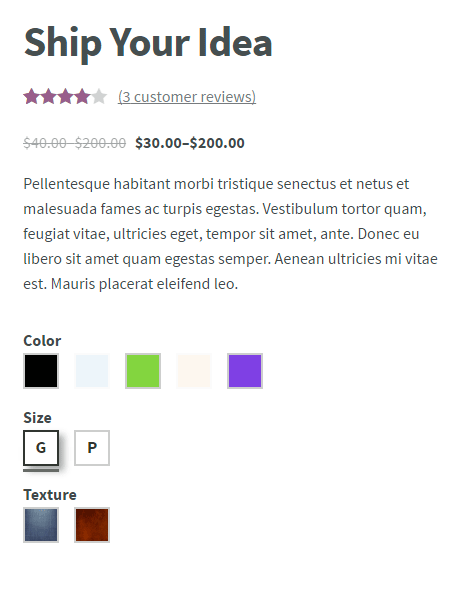Color or Image Variation Swatches for WooCommerce
