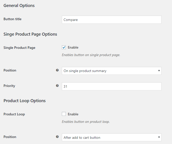 Compare Products for WooCommerce - Buttons Options