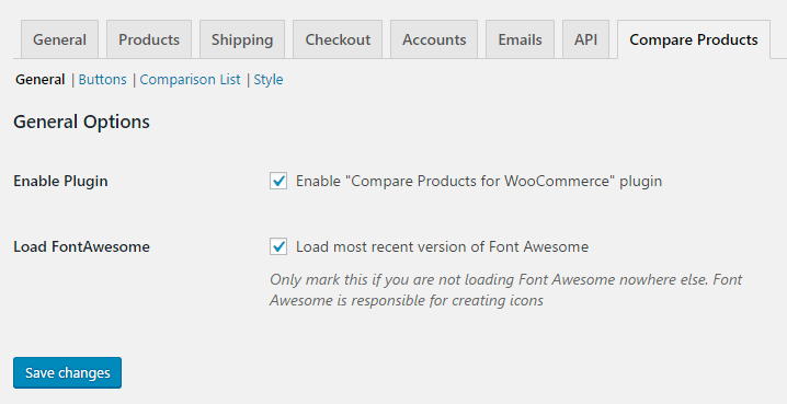 Compare products for WooCommerce - Admin - General options