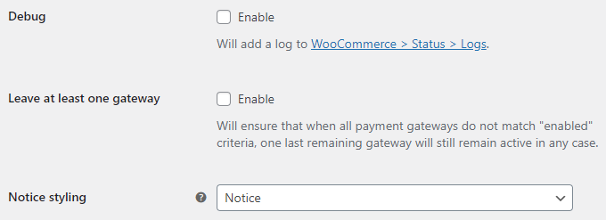 Conditional Payment Gateways for WooCommerce - General Options