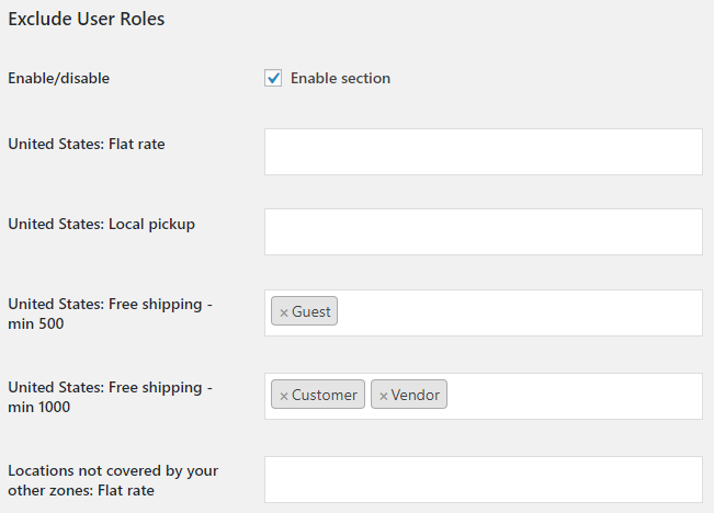 Conditional Shipping for WooCommerce - Admin Settings - Exclude User Roles