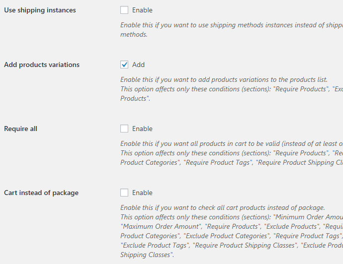 Conditional Shipping for WooCommerce - Admin Settings - General Options