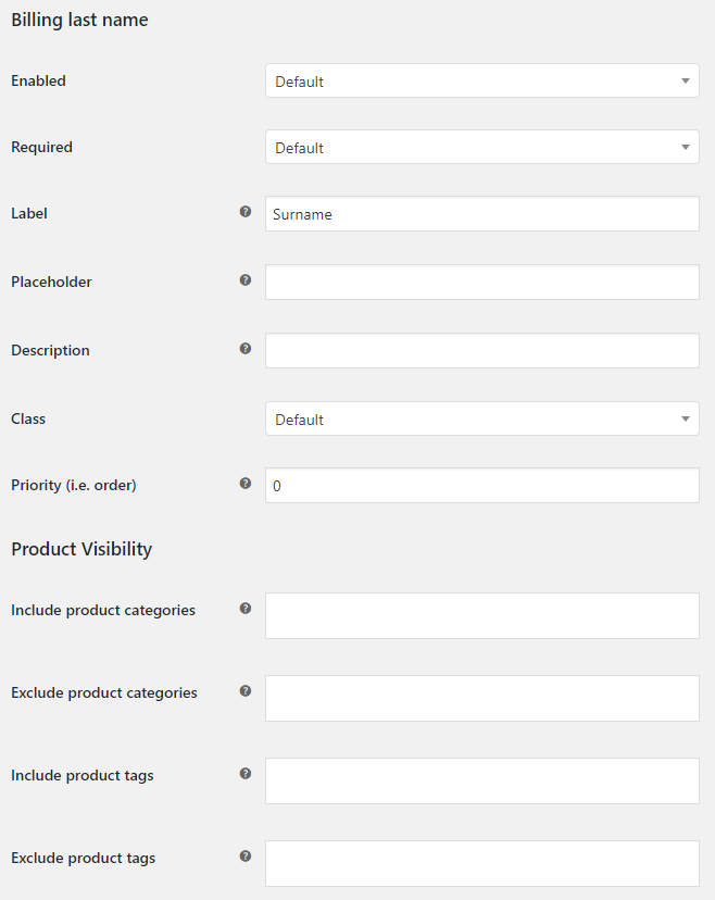Core Checkout Fields for WooCommerce - Admin Settings - Field Options