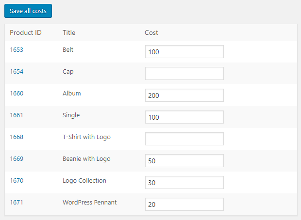 Cost of Goods for WooCommerce - Bulk Edit Costs Tool