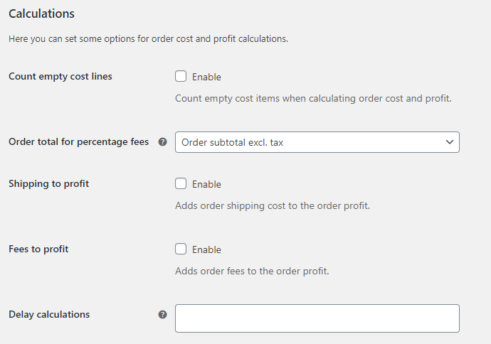 Cost of Goods for WooCommerce - Calculations