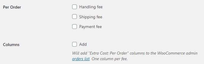 Cost of Goods for WooCommerce - Orders - Extra Costs - Per Order