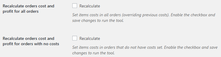 Cost of Goods for WooCommerce - Orders Tools Options