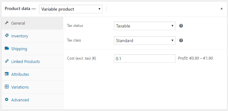 Cost of Goods for WooCommerce - Variable Product Cost Input
