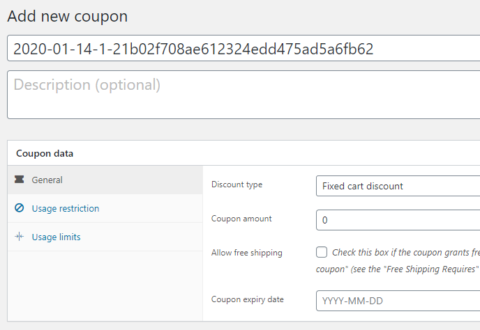 Coupon Code Generator for WooCommerce - Add new coupon