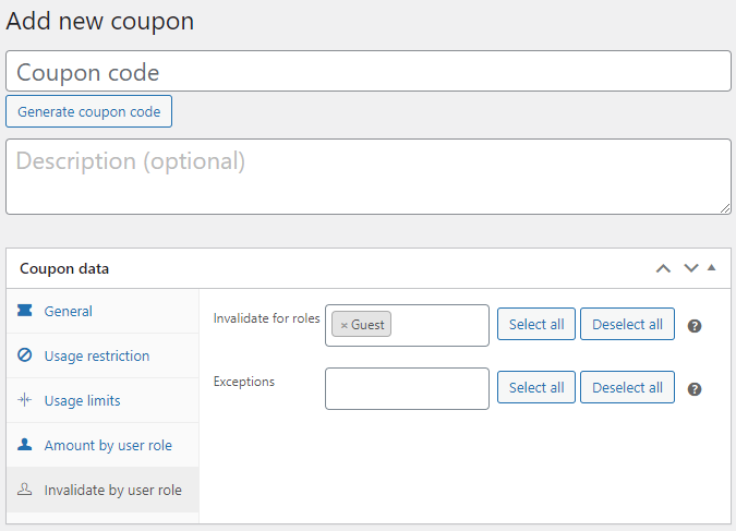 Coupon by User Role for WooCommerce - Availability per Coupon