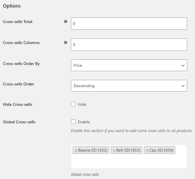 Cross-sells Manager for WooCommerce - General Options