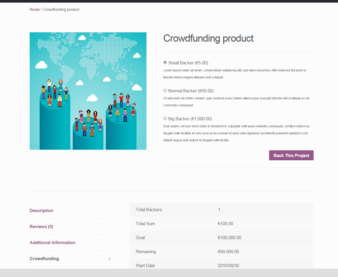 Crowdfunding for WooCommerce - Product Frontend