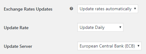 Currency per Product for WooCommerce - Admin Settings - Exchange Rates Updates Options