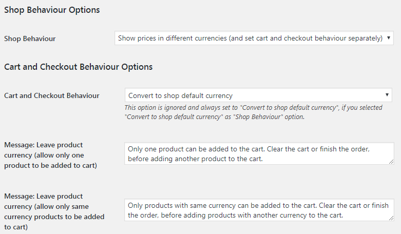 Currency per Product for WooCommerce - Admin Settings - Shop Cart and Checkout Behaviour Options