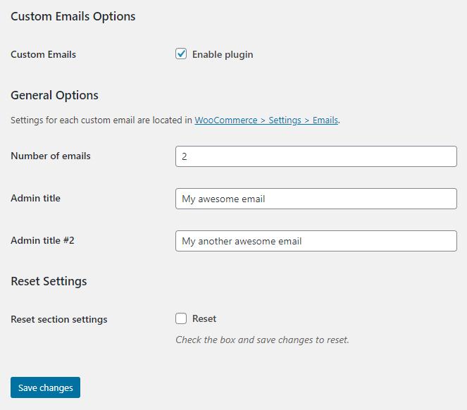 Custom Emails for WooCommerce - General Options