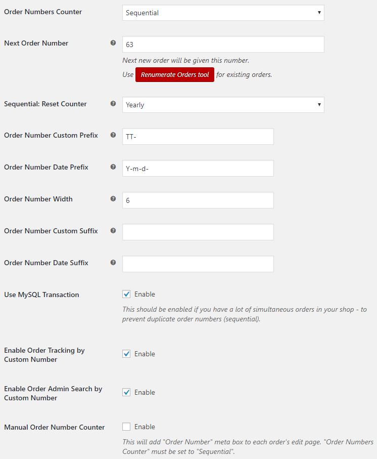Custom Order Numbers for WooCommerce - Admin Settings - General Options