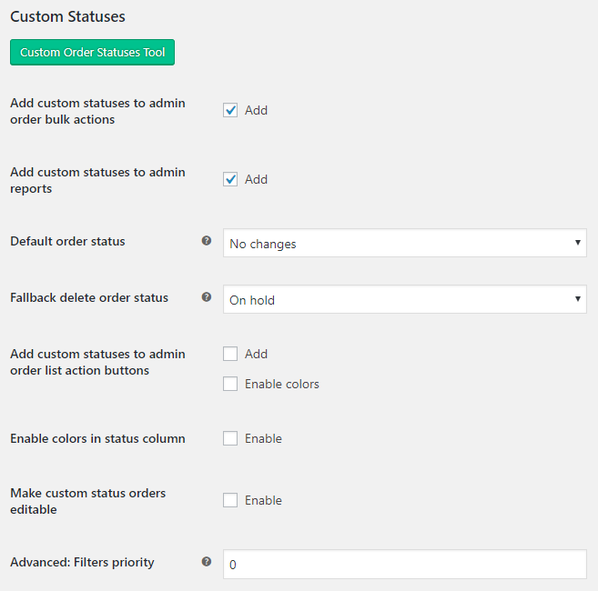 Custom Order Status for WooCommerce - Admin Settings - General Options
