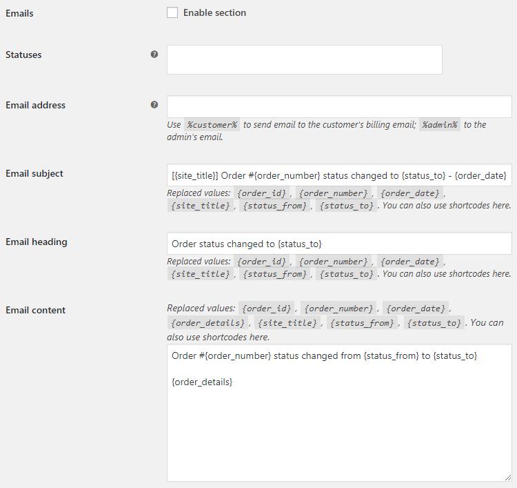 Custom Order Status for WooCommerce - Email Options