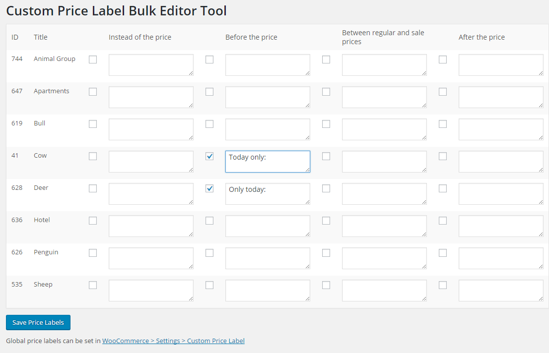 Custom Price Labels for WooCommerce Plugin - Price Label Bulk Editor Tool