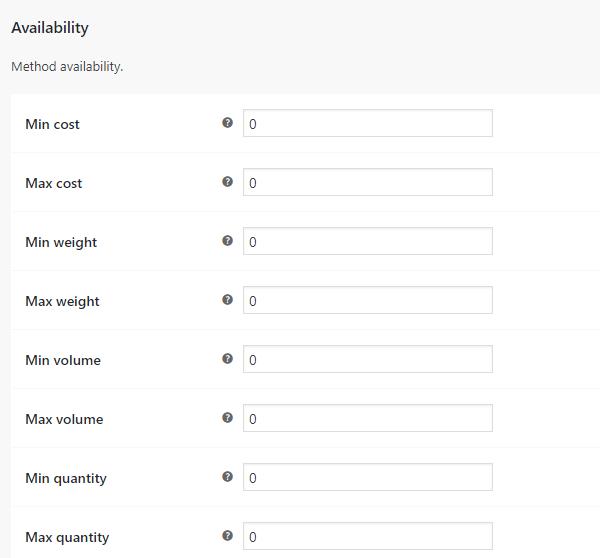 Custom Shipping Methods for WooCommerce - Availability Settings