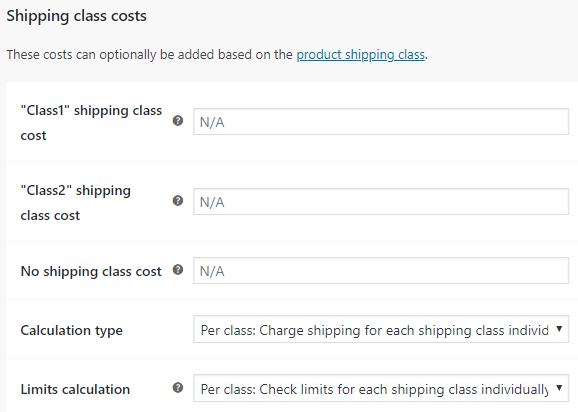 Custom Shipping Methods for WooCommerce - Shipping Class Costs Settings