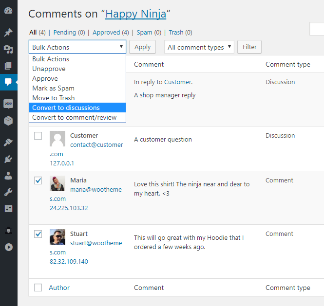 Discussions Tab for WooCommerce - Admin - Comments and Reviews Conversions