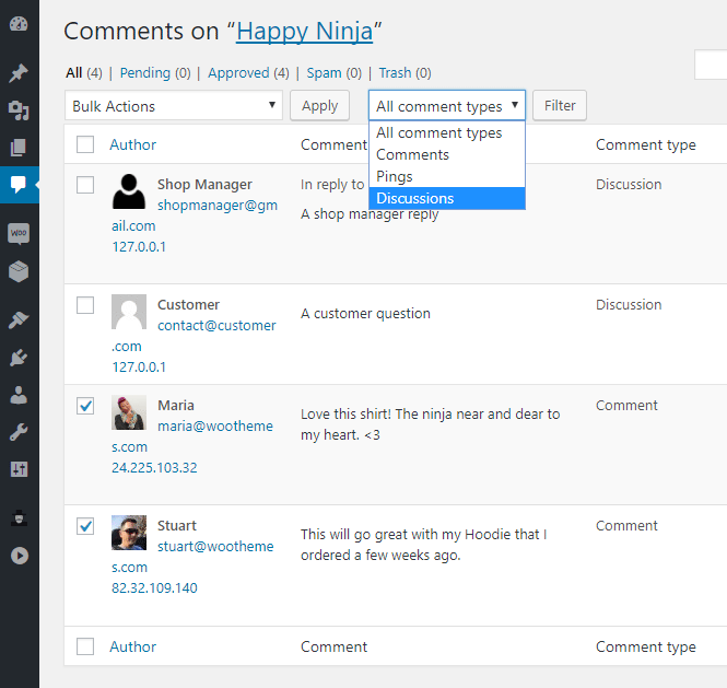 Discussions Tab for WooCommerce - Admin - Filter your discussion comment type