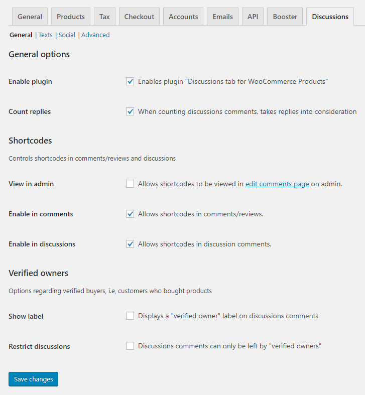 Discussions Tab for WooCommerce - Admin - General Section