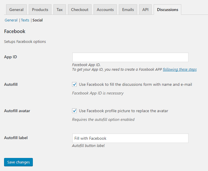 Discussions Tab for WooCommerce - Admin - Social Section