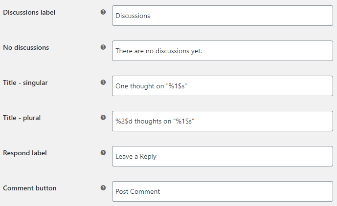 Discussions Tab for WooCommerce Products - Texts Options