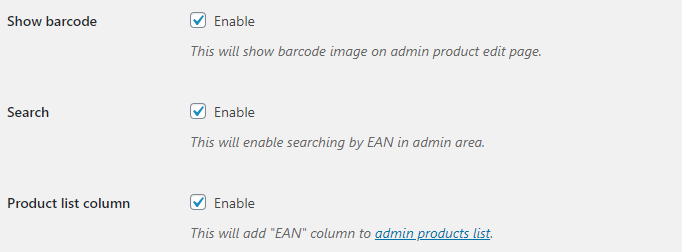 EAN for WooCommerce - Backend Options