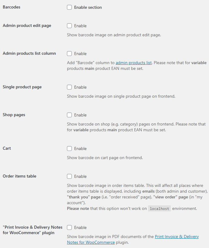 EAN for WooCommerce - Barcodes Options
