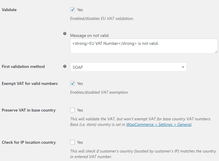 EU VAT for WooCommerce - Admin Settings - Validation