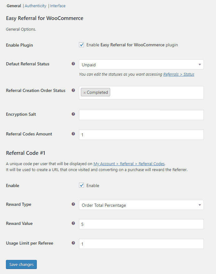 Easy Referral for WooCommerce - admin-general-settings