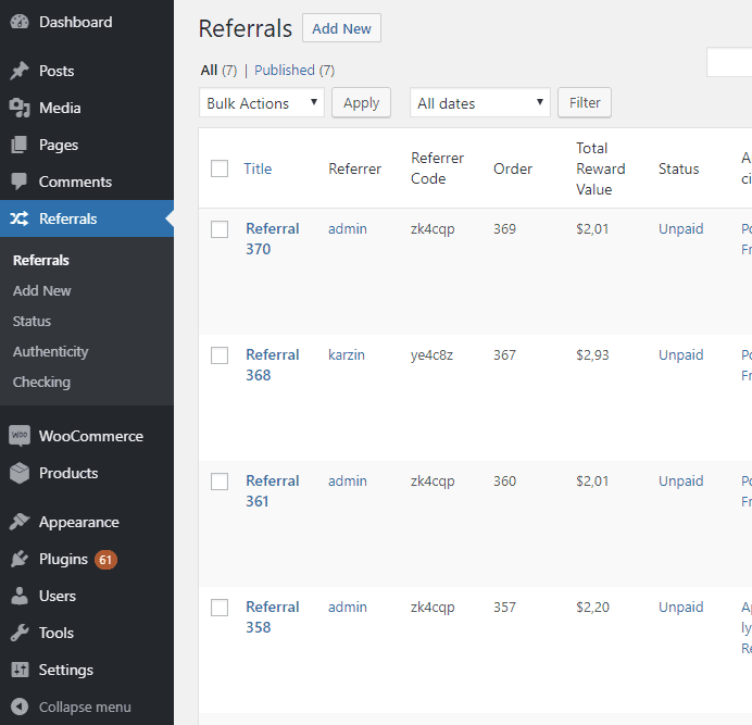 Easy Referral for WooCommerce - admin-referrals