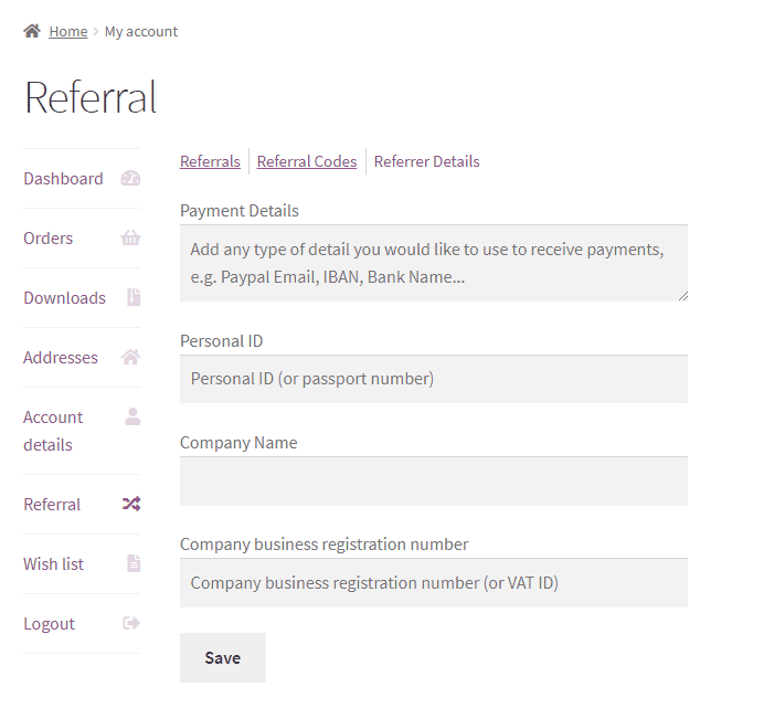 Easy Referral for WooCommerce - frontend-referral-details