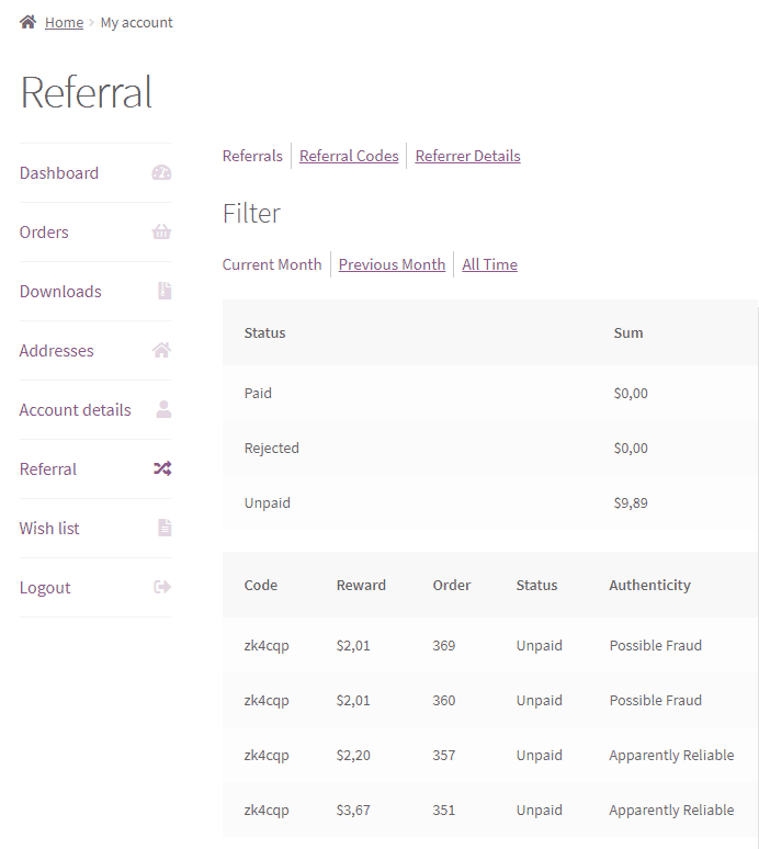 Easy Referral for WooCommerce - frontend-referrals