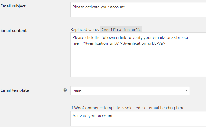 Email Verification for WooCommerce - Admin Settings - Email Options