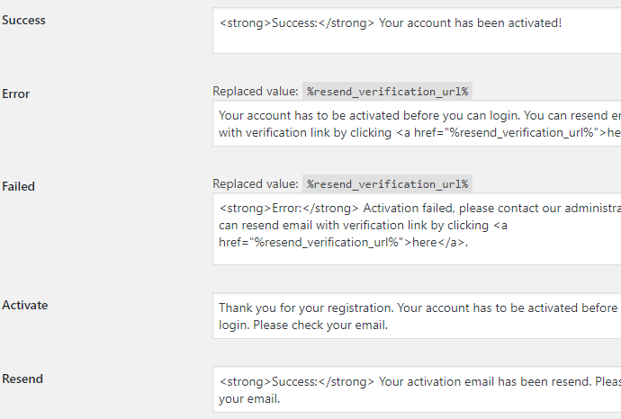 Email Verification for WooCommerce - Admin Settings - Messages