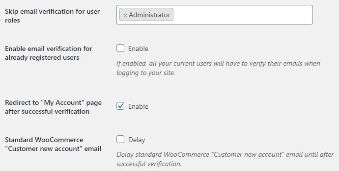 Email Verification for WooCommerce - General Options