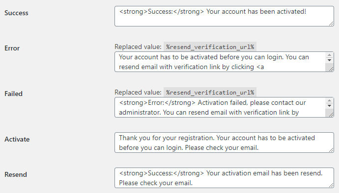 Email Verification for WooCommerce - Messages