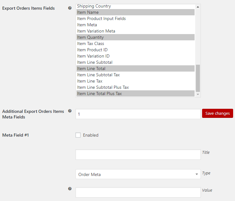 Export WooCommerce - Admin Settings - Export Orders Items Options