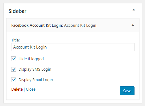 Facebook Account Kit Login for WordPress - Admin - Widget