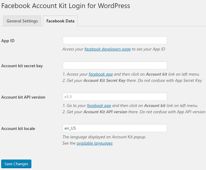 Facebook Account Kit Login for WordPress